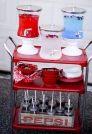 Beverage Cart. What drinks can you think of that are red, white and blue?