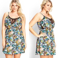 Bright florals with mesh material at cleavage.