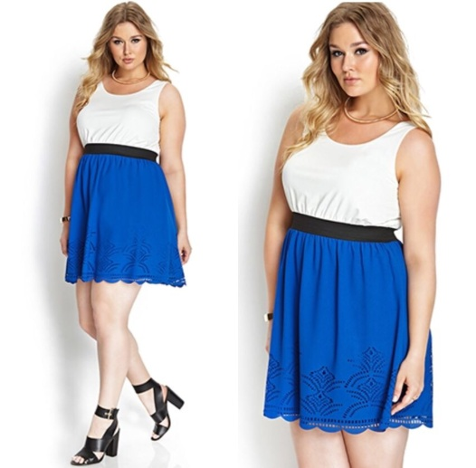 Simple, solid colored high-waisted dress. The blue makes the dress POP!