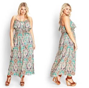 Neutral color floral and patterned lengthy dress.