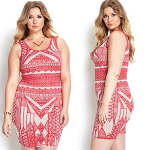 Asymmetrical patterned bodycon dress. Curve fitting.