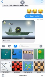 Screen shot of iMessage game with my friend, Tiffany. Also shows games in App Store through the iMessage.